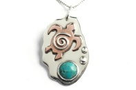 Sea Turtle and Turquoise Gemstone Handmade Sterling Silver and Copper Mixed Metal Beach Surf Pendant.