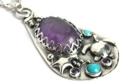 Recycled Sterling Silver, Purple Amethyst and Turquoise Gemstone Pendant with Turtle, Starfish and Bubbles