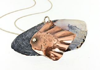 Artisan Mixed Metal Copper Silver Fish Pendant, Hammer Textured Ocean Nature Jewellery