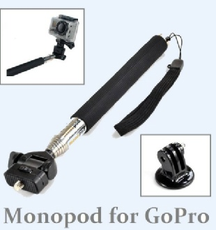 Self Portrait Extendable Telescopic Pole Arm Monopod+Tripod Adapter for Gopro HD
