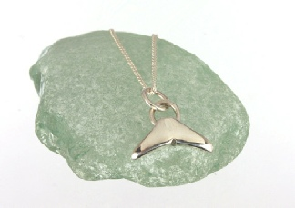 Beautiful Tiny Little Whale Tail Fluke Ocean Pendant Necklace Handmade in Sterling Silver. Sea Creatures Jewellery