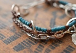 Artisan Hand-Forged Sterling Silver Leather and Glass Bracelet - Silver Bracelet- Boho Silver Bracelet - Bohemian Bracelet Artisan Bracelet