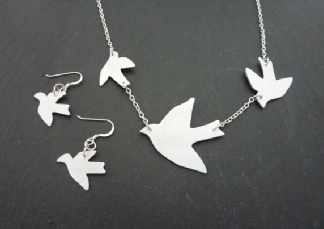 Gift Set - Flock of Swallows Necklace and Swallow Earrings