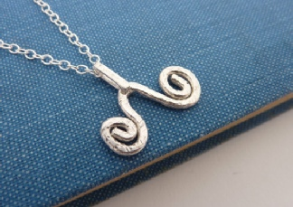 Sterling Silver Wave Necklace - Silver Abstract Wave Necklace