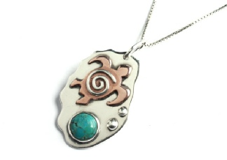 Sea Turtle and Turquoise Gemstone Handmade Sterling Silver and Copper Mixed Metal Beach Surf Pendant. ery